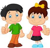 Cartoon boy and girl giving thumb up