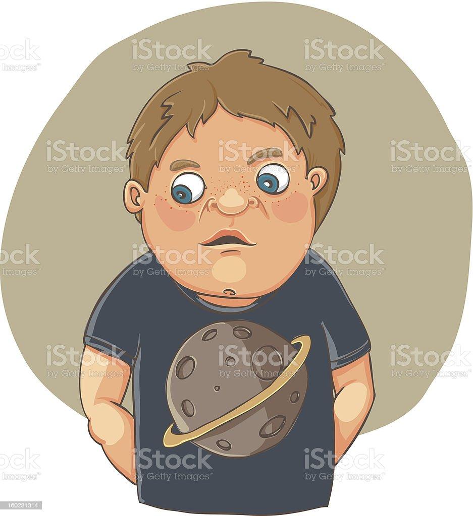 Cartoon boy ashamed in cute t-shirt royalty-free stock vector art
