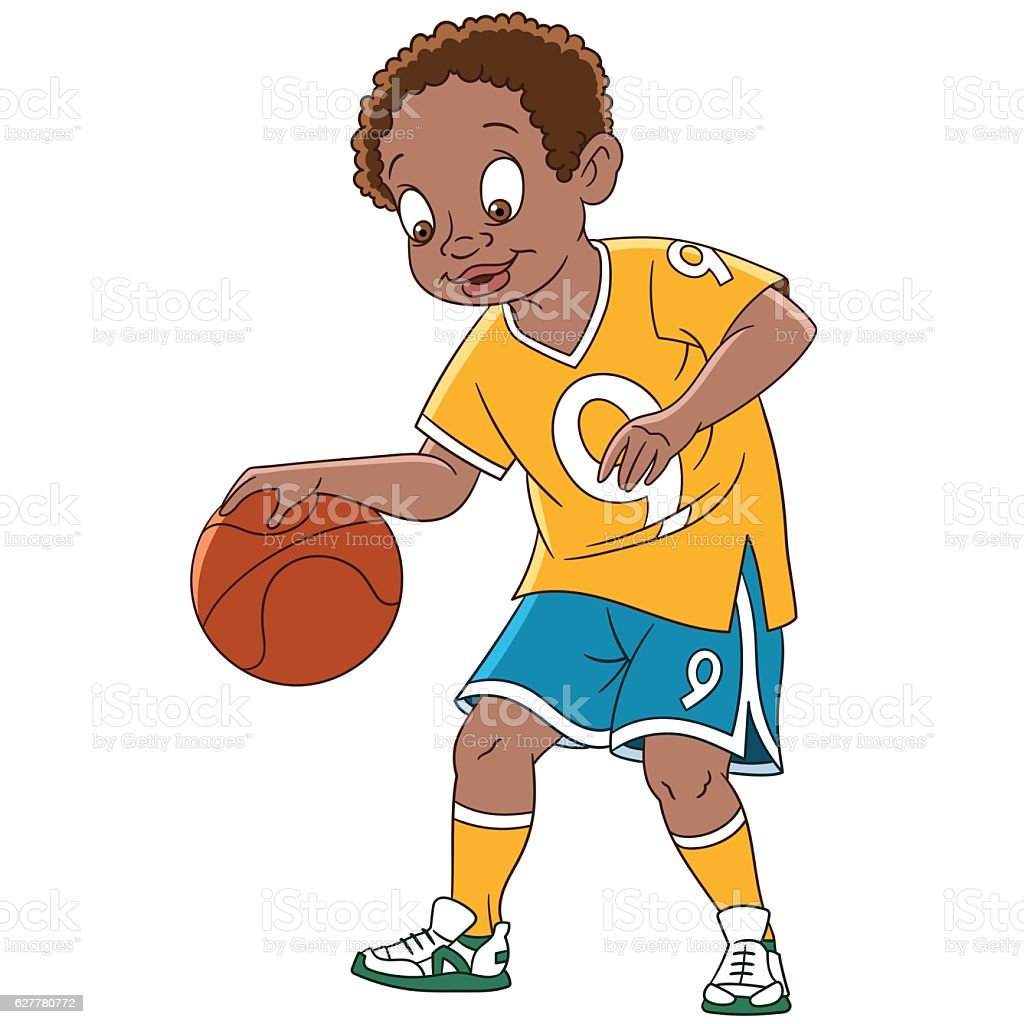 Cartoon boy basketball player vector art illustration