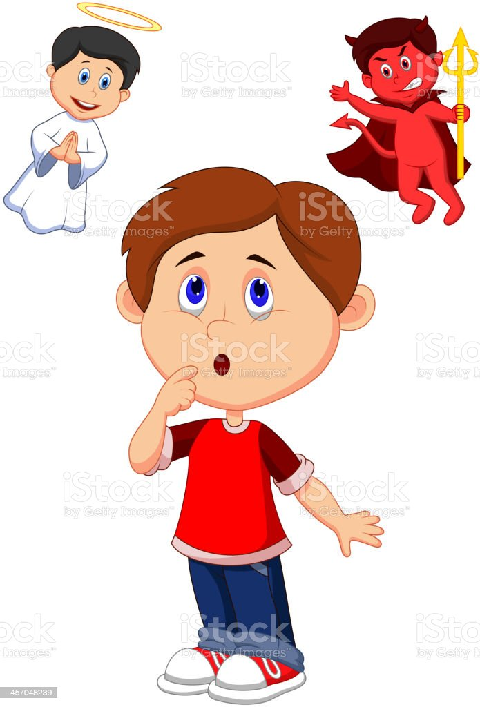 Cartoon boy confuse on choice between good and evil royalty-free stock vector art