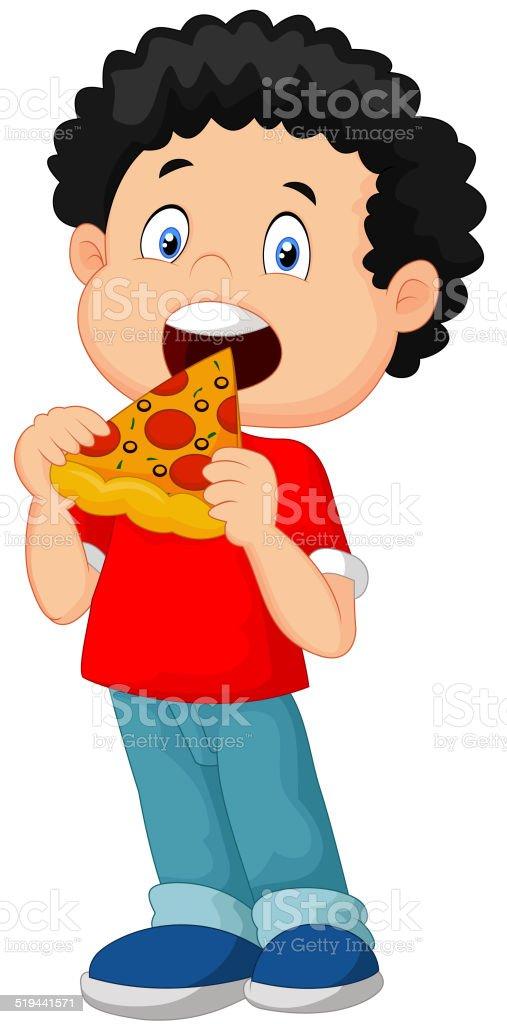 Cartoon boy eating pizza vector art illustration