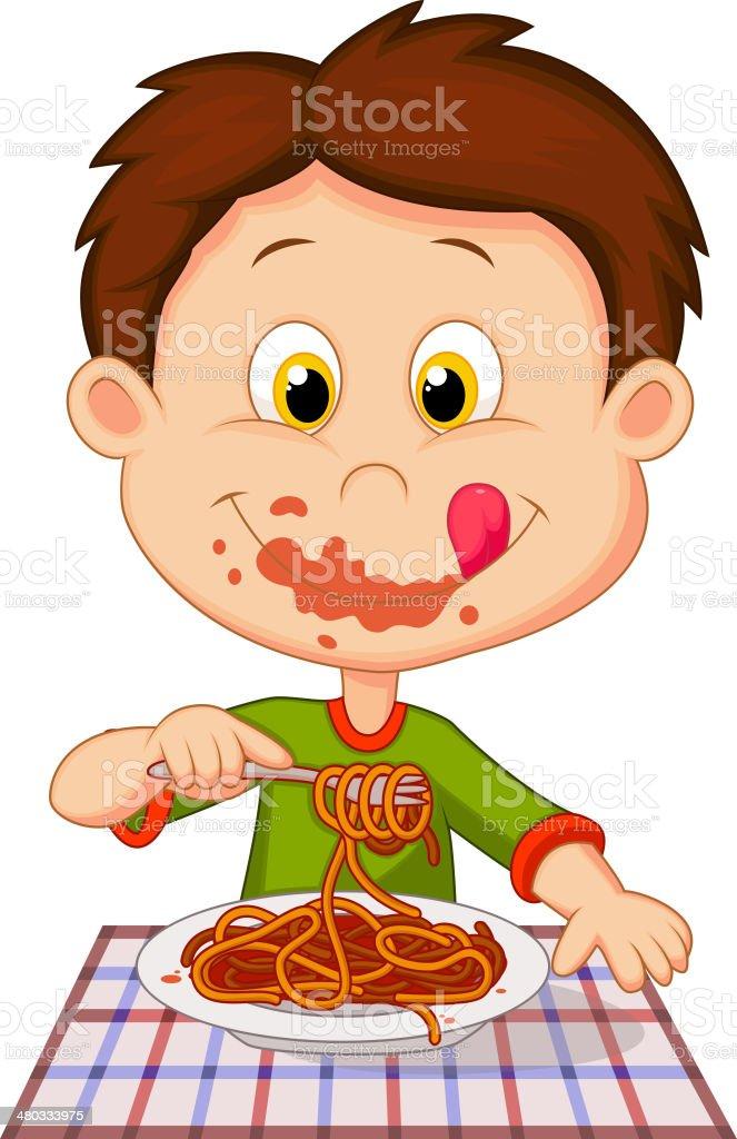 Cartoon boy eating spaghetti vector art illustration