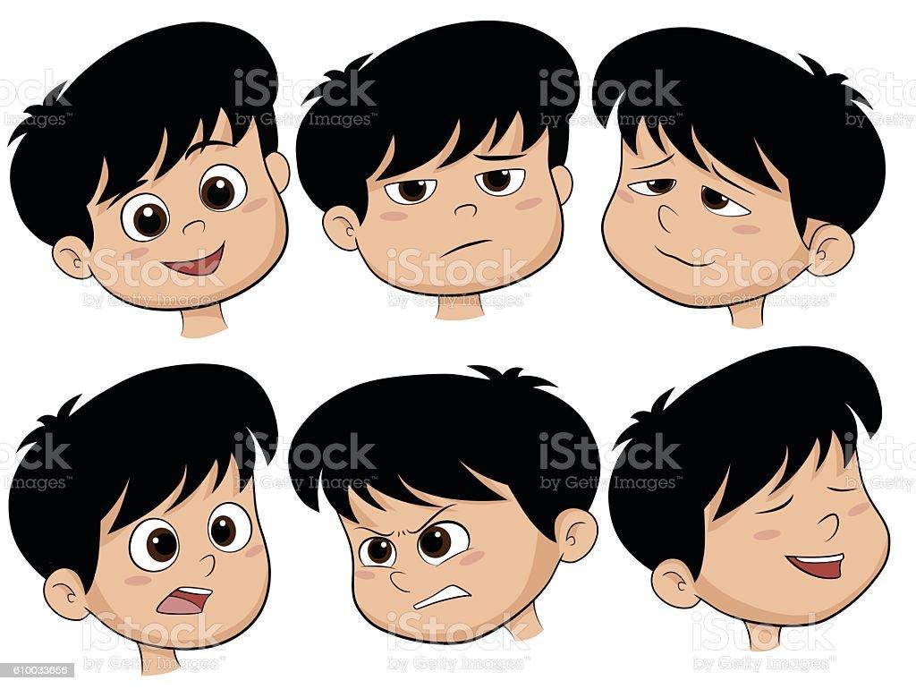 Cartoon Boy Head. Vector Set of Different Emotions Icons. stock vecteur libres de droits libre de droits