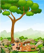 Cartoon boy lay down using binoculars with a leopard