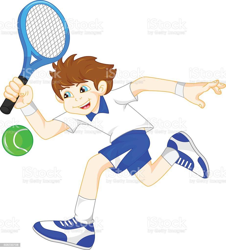 cartoon boy playing tennis vector art illustration
