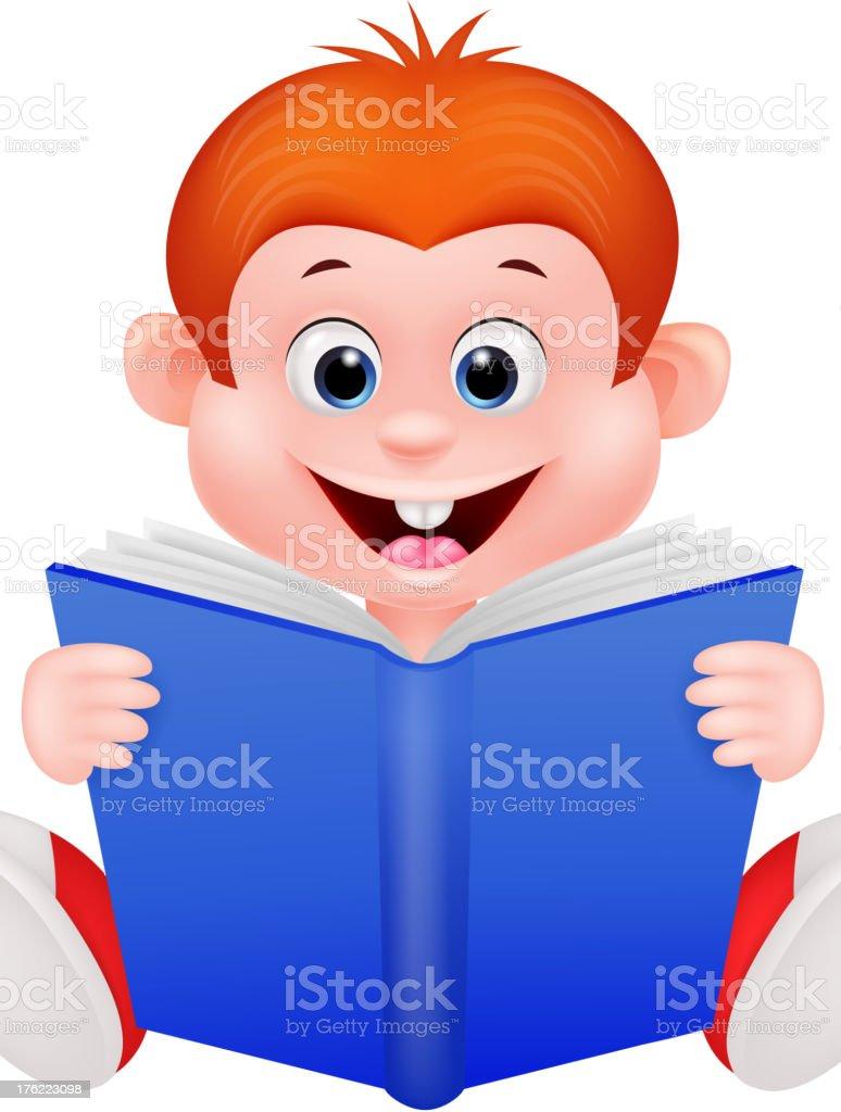 Cartoon boy reading a book royalty-free stock vector art