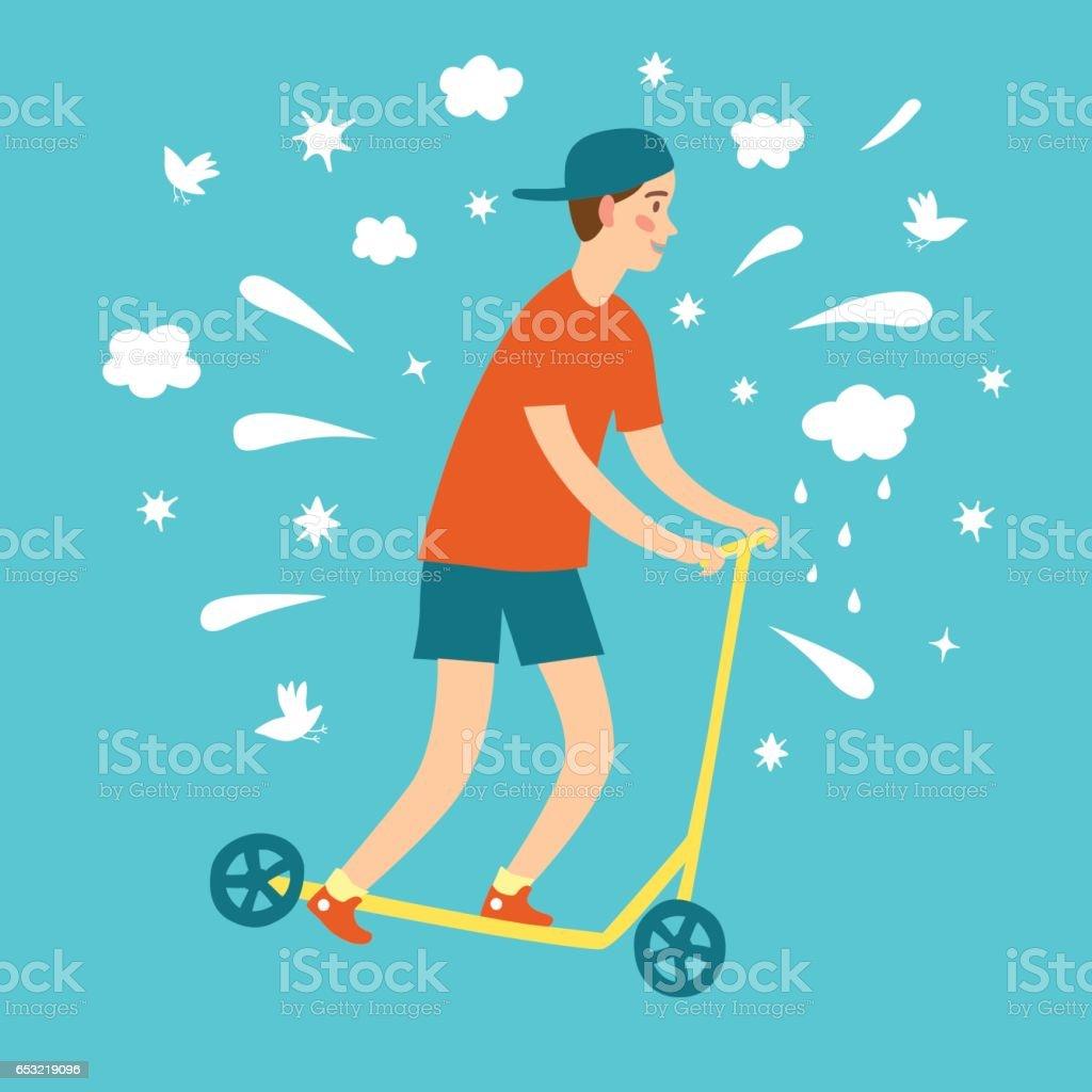 Cartoon boy riding kick scooter vector art illustration
