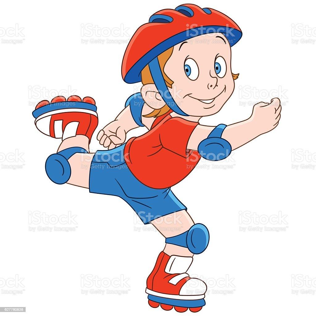Cartoon boy roller skater vector art illustration