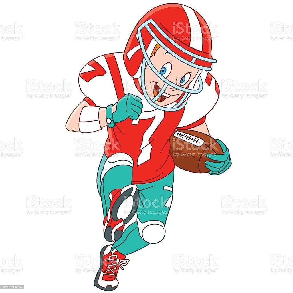 Cartoon boy rugby player vector art illustration