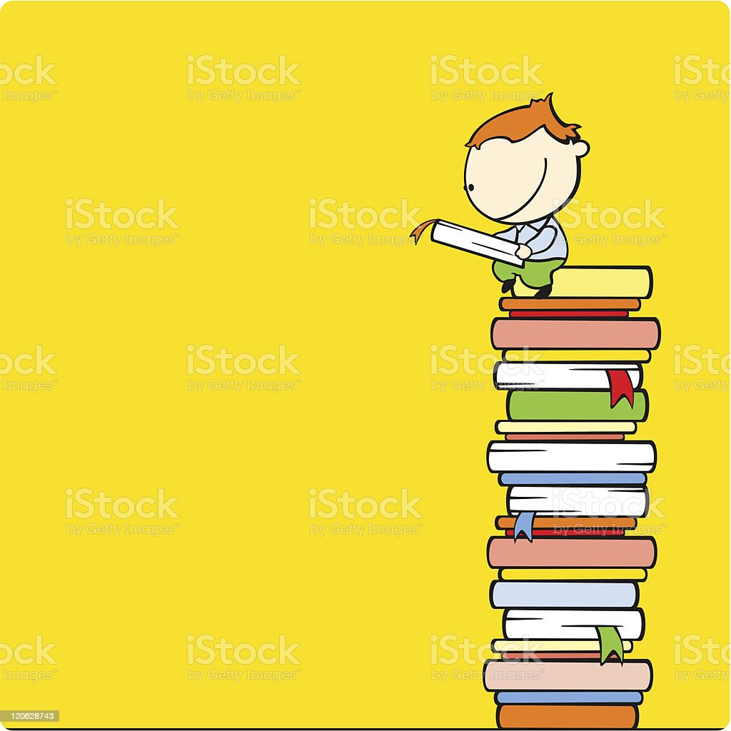 Cartoon boy sitting on a stack of books and reading a book royalty-free stock vector art