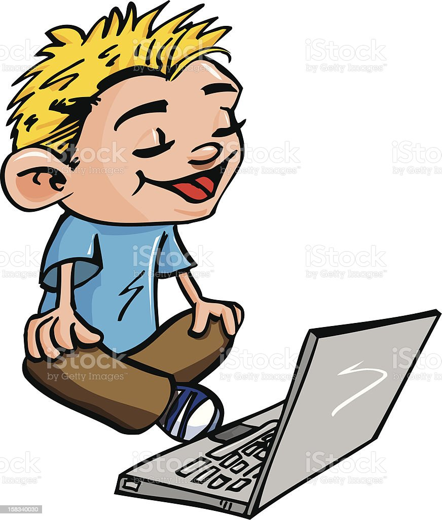 Cartoon boy using a laptop royalty-free stock vector art