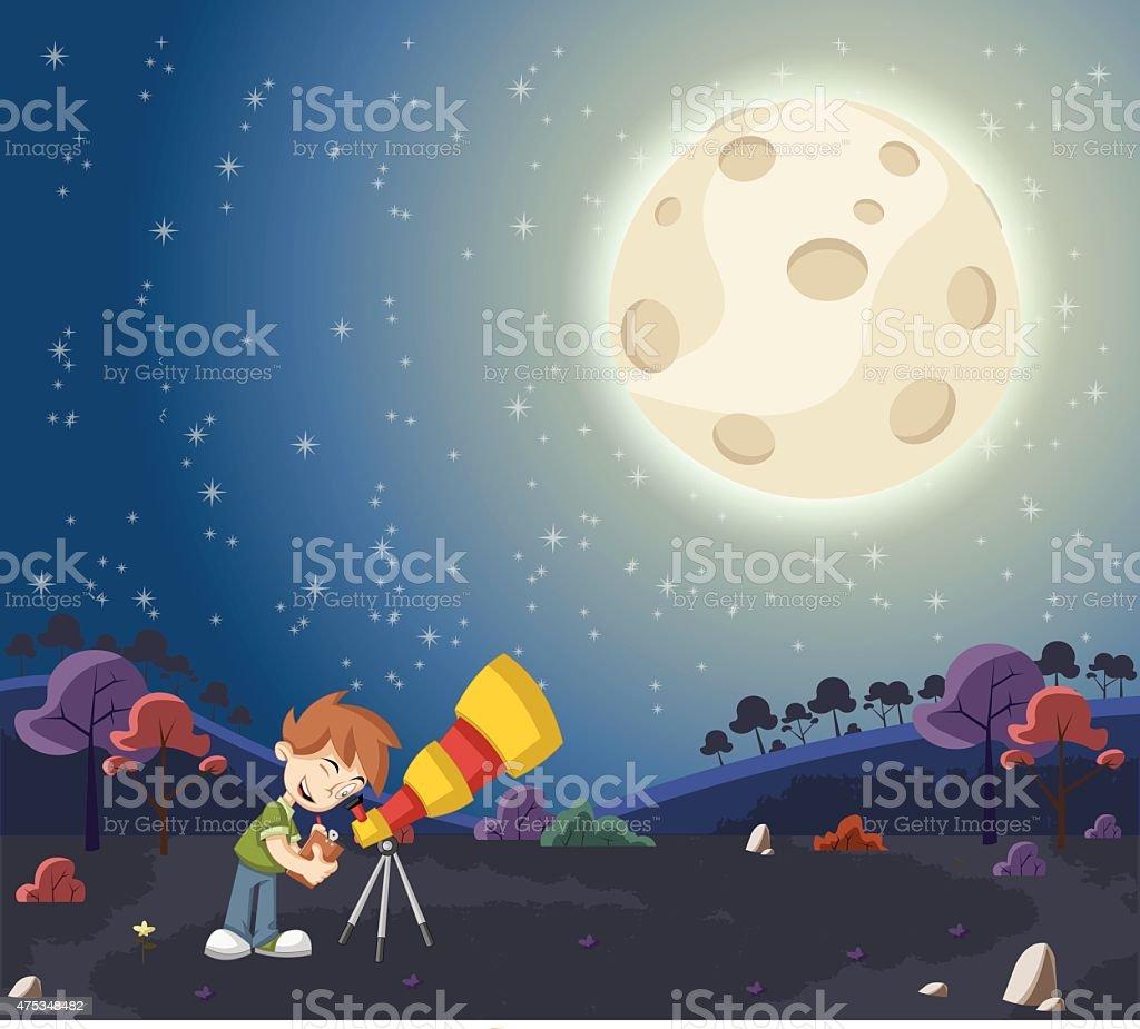 Cartoon boy using a telescope vector art illustration