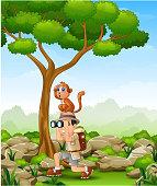 Cartoon boy using binoculars with a monkey over her head