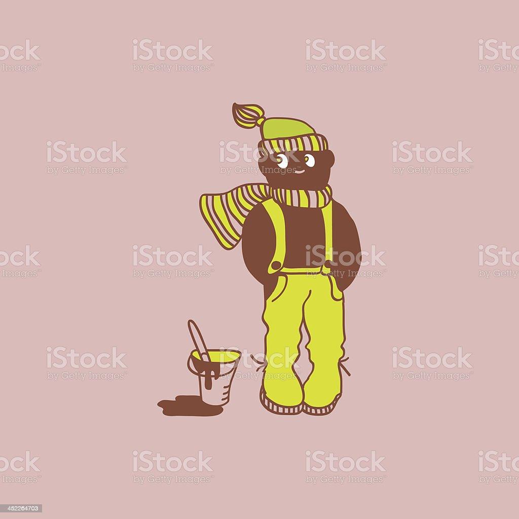 Cartoon boy with paint bucket royalty-free stock vector art