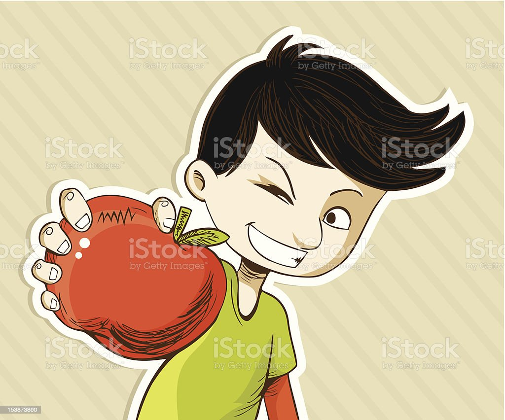 Cartoon boy with red apple royalty-free stock vector art