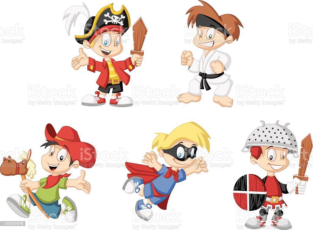 cartoon boys wearing costumes vector art illustration