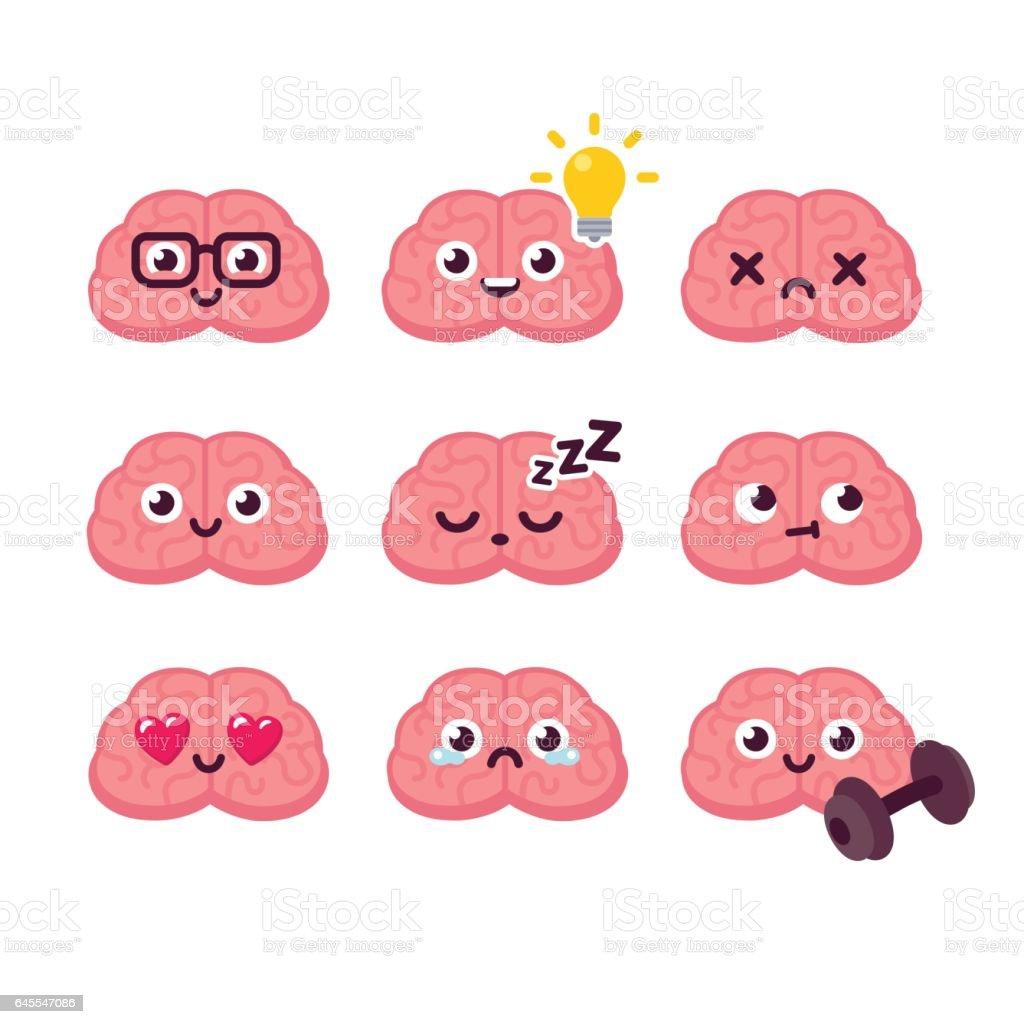 Cartoon Brain Emoticons Set Stock Vector Art 645547086