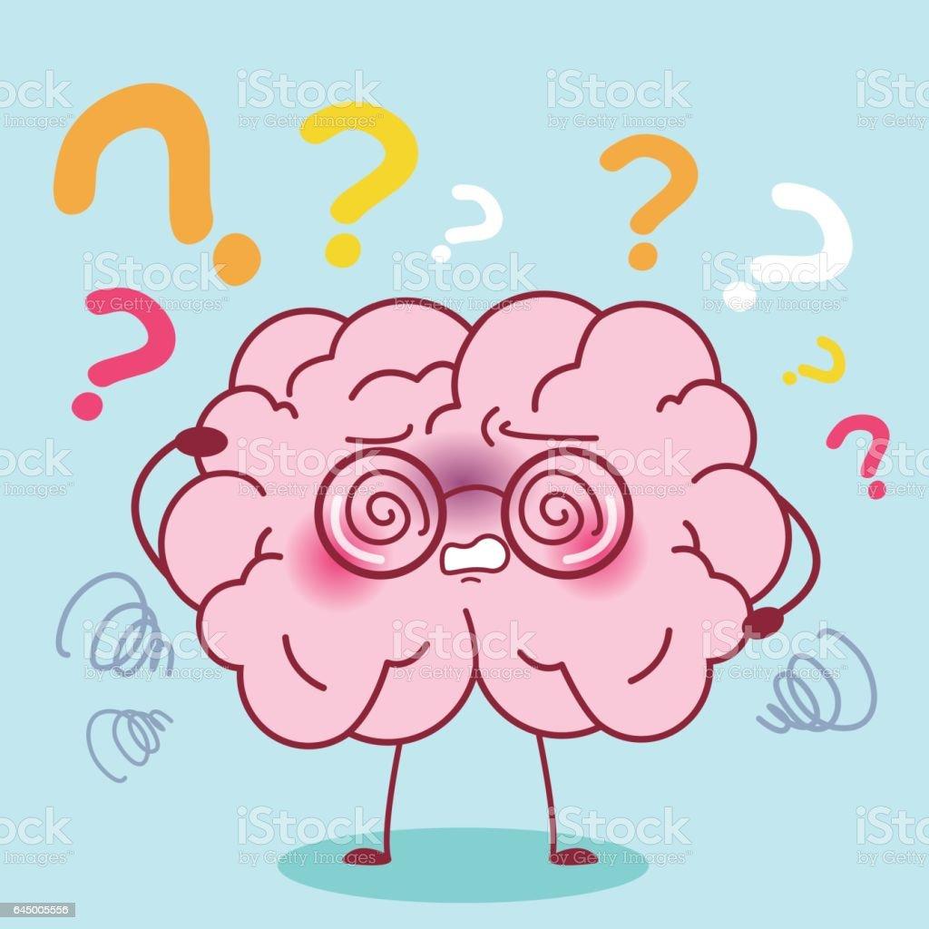 cartoon brain with amnesia vector art illustration