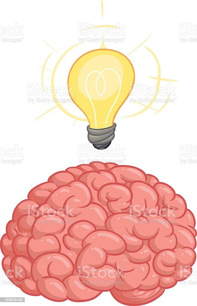 Cartoon brain with lightbulb signaling an idea royalty-free stock vector art