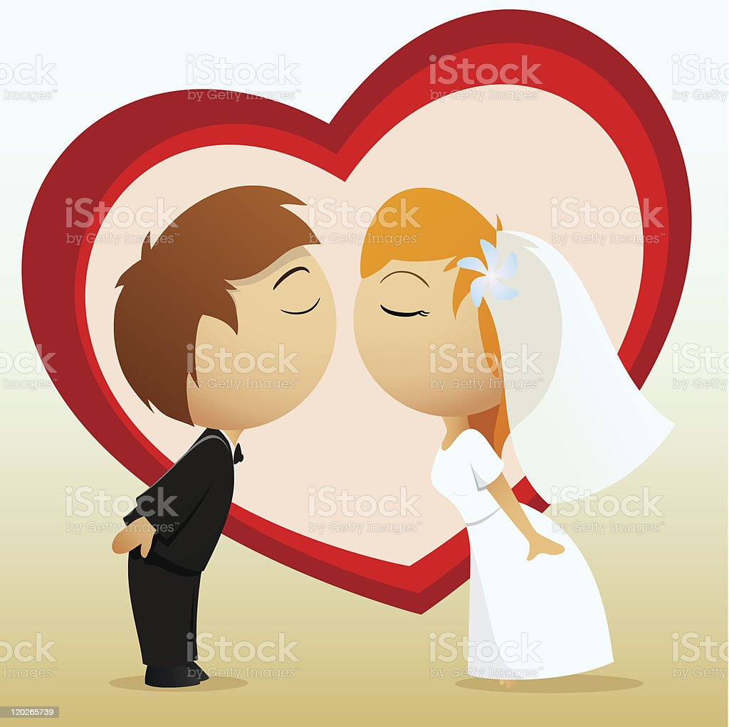 Cartoon bride and groom kiss royalty-free stock vector art