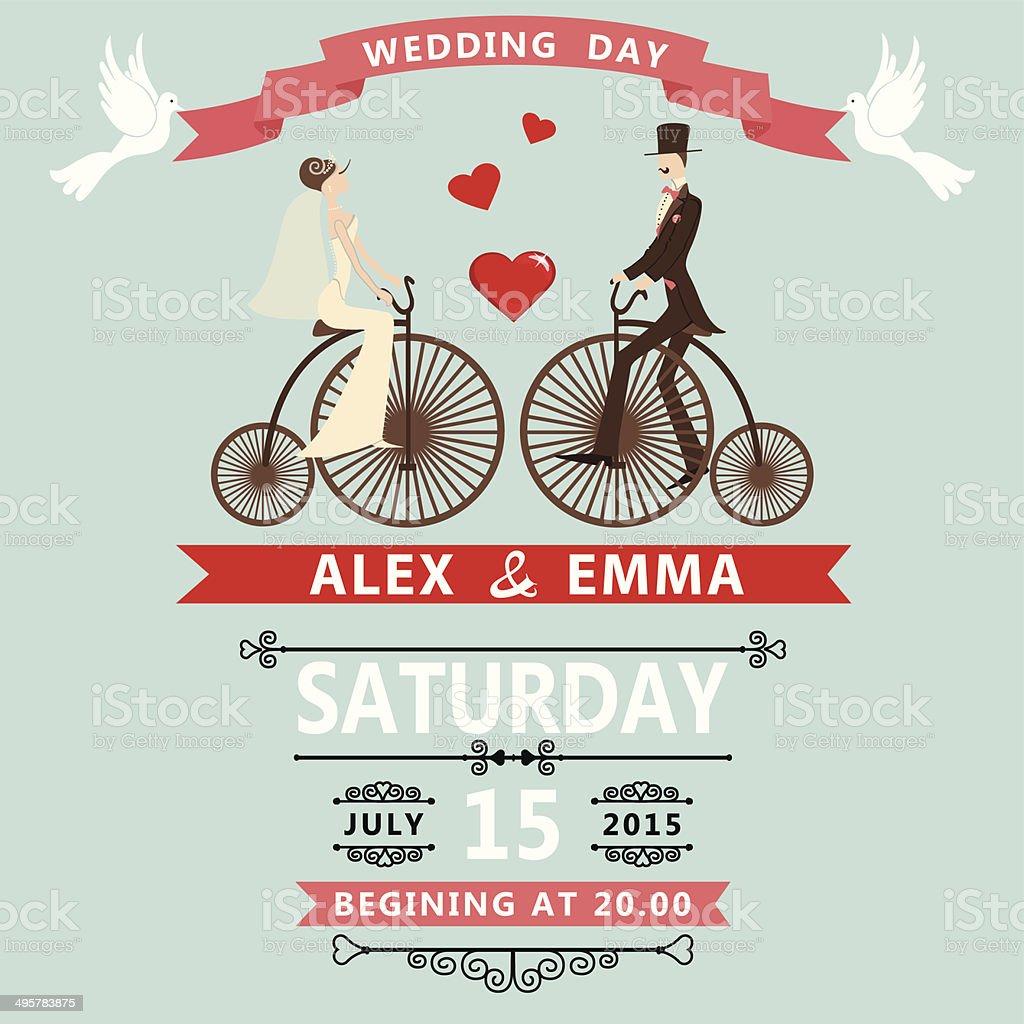 Cartoon bride groom on retro bike.Wedding invitation vector art illustration