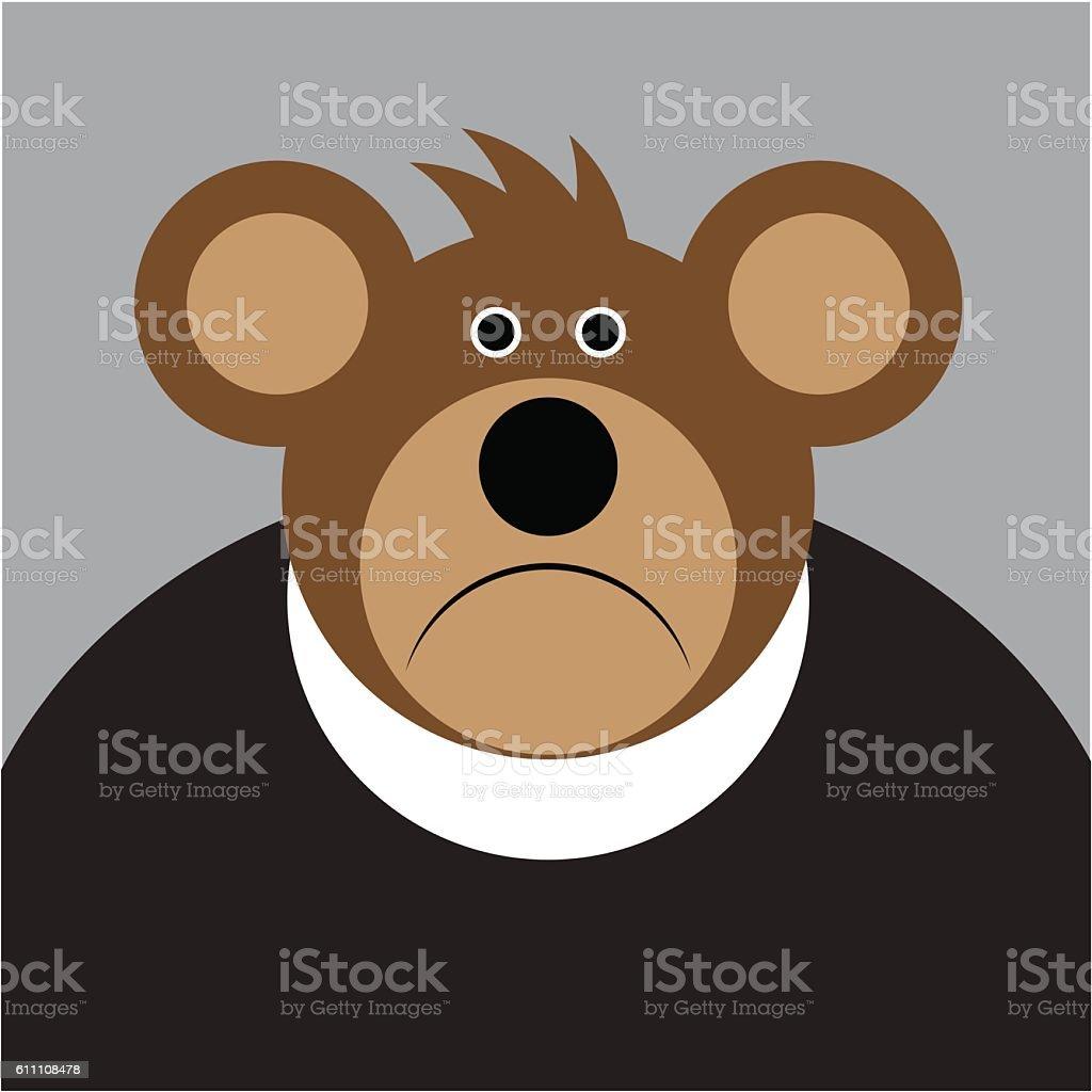 cartoon - brown sad bear with a big ears vector art illustration