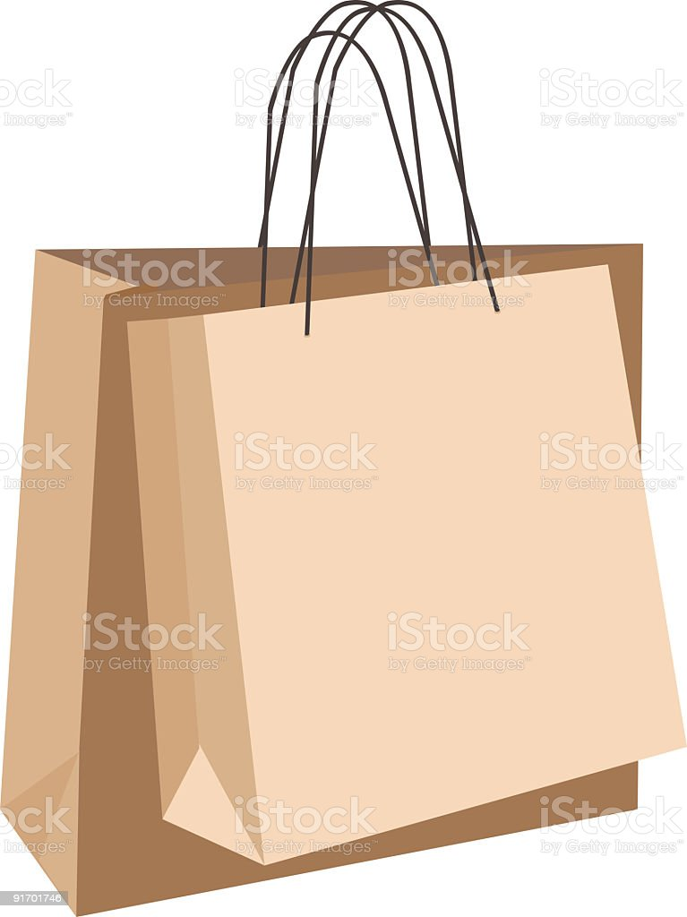 Cartoon brown shopping bags on white surface royalty-free stock vector art
