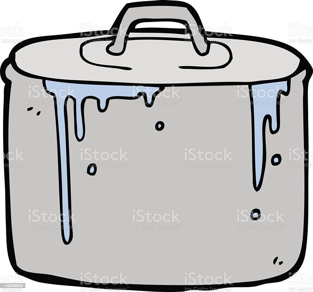 cartoon bubbling pan vector art illustration