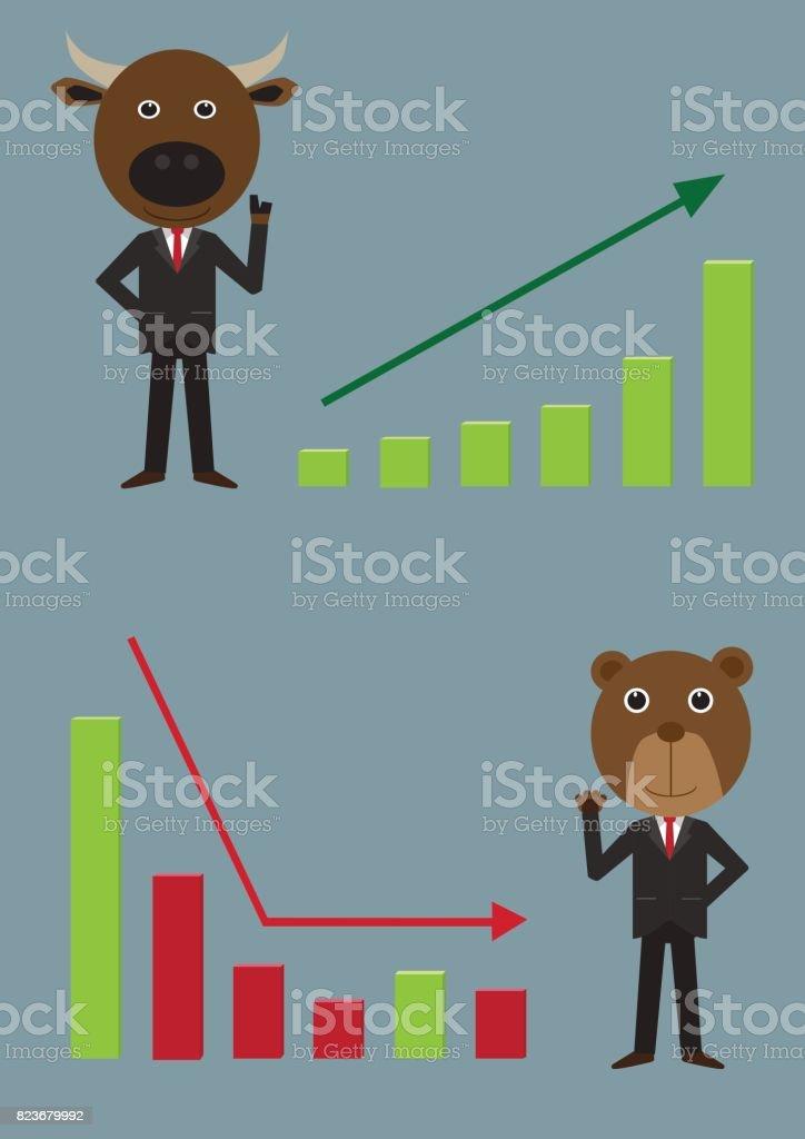 cartoon bull and bear symbol of stock market trend illustration vector vector art illustration
