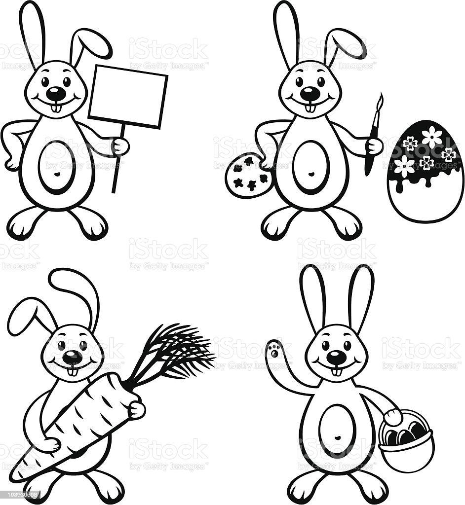 Cartoon bunny set royalty-free stock vector art
