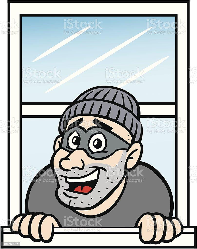 Cartoon Burglar In Window vector art illustration