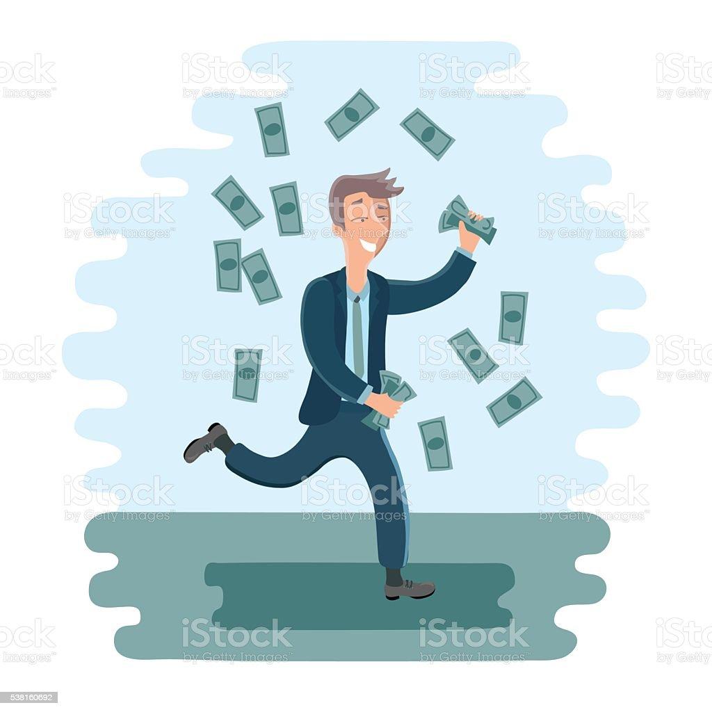 Cartoon businesman dancing with money vector art illustration