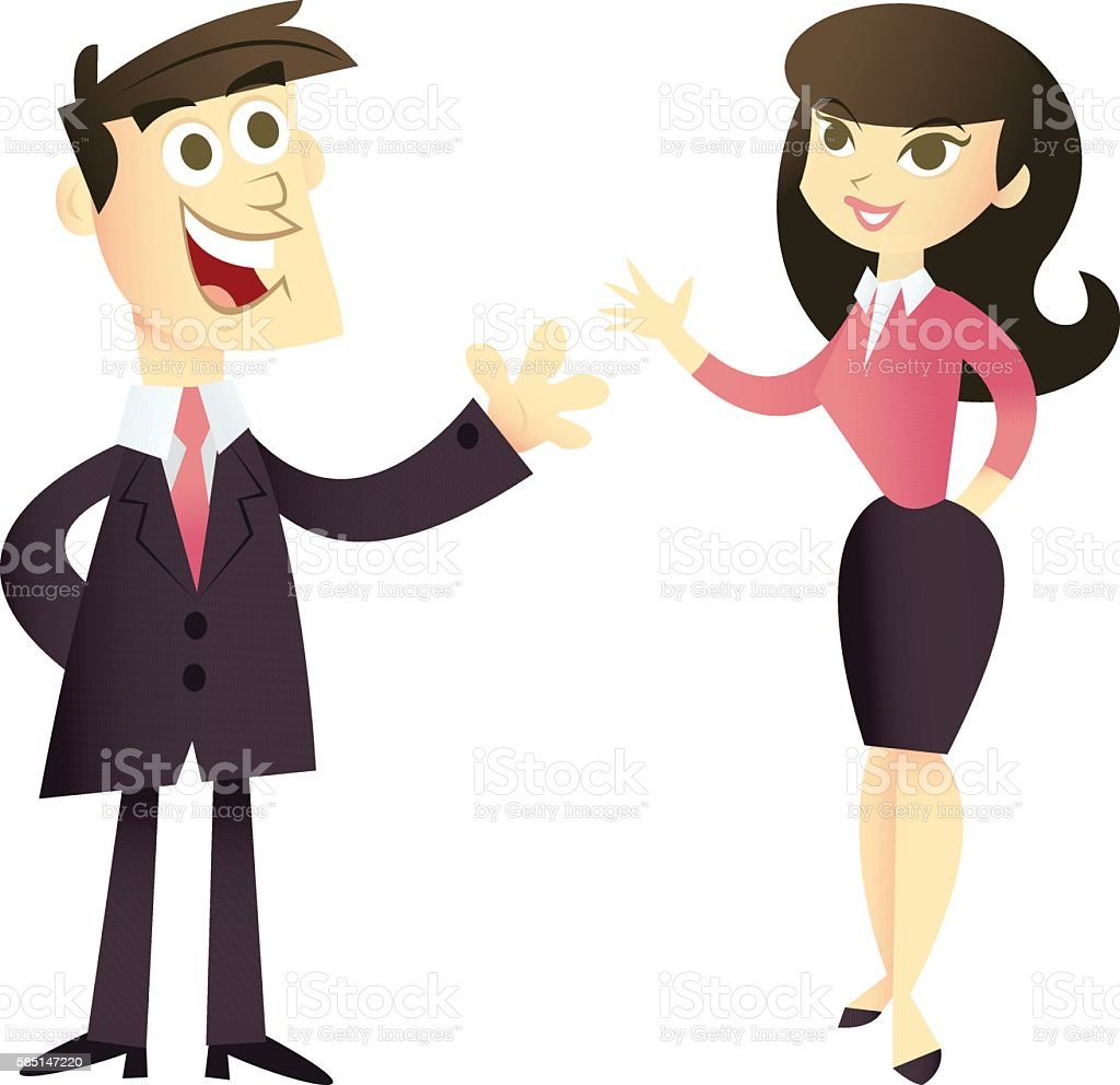 Cartoon Business Man And Woman stock vector art 585147220 | iStock