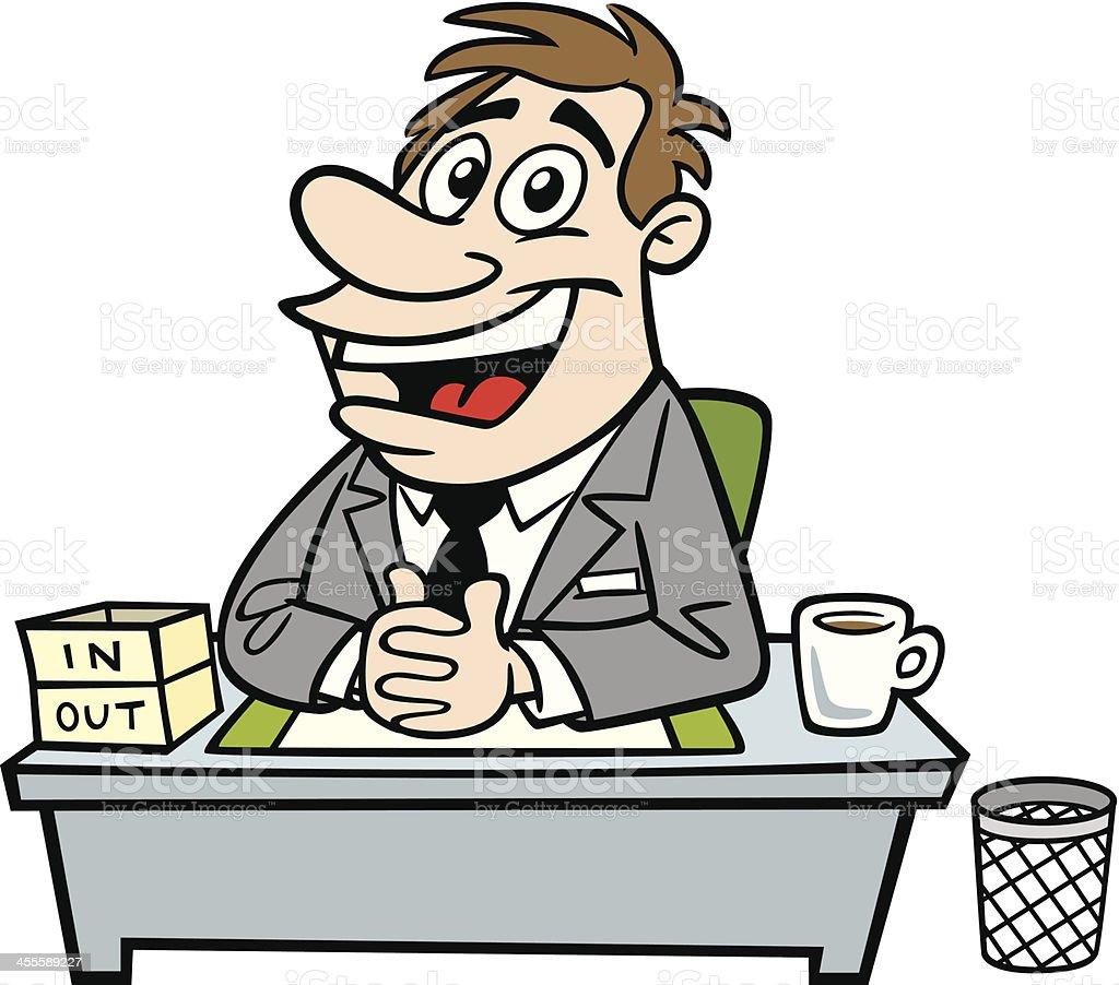 Cartoon Business Man At His Desk vector art illustration