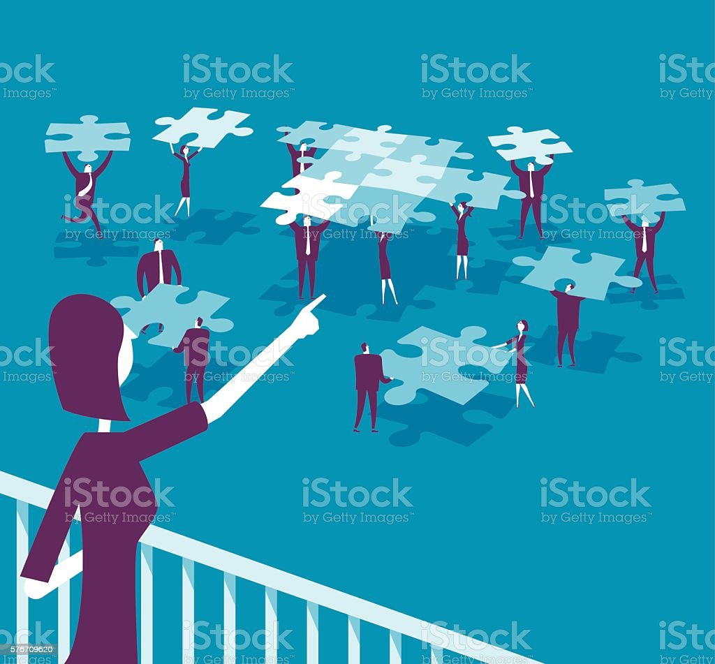 cartoon business people over puzzle pieces vector art illustration