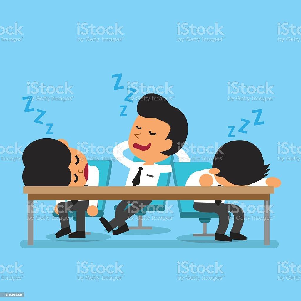 Cartoon business team falling asleep vector art illustration