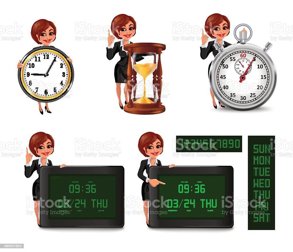 Cartoon business woman deadline set 2 vector art illustration
