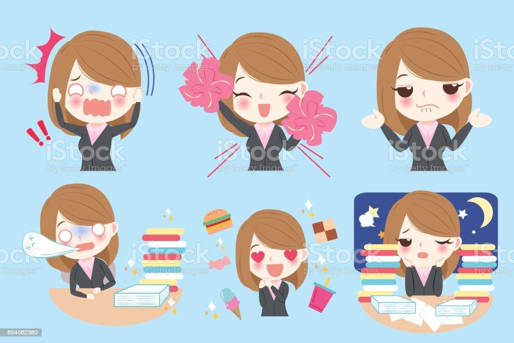 cartoon business woman vector art illustration