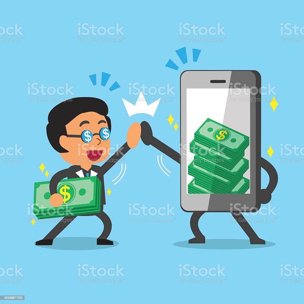 Cartoon businessman and smartphone earning money vector art illustration