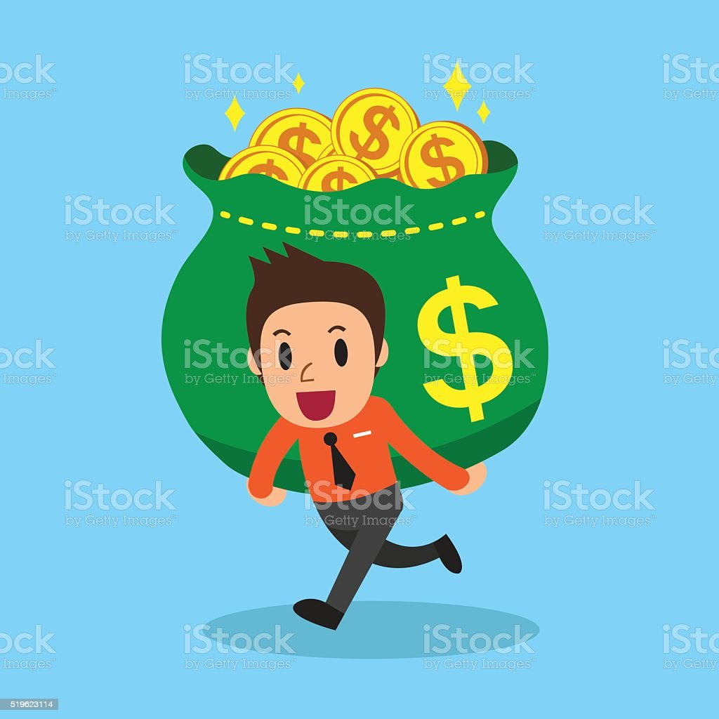 Cartoon businessman carrying big money bag vector art illustration