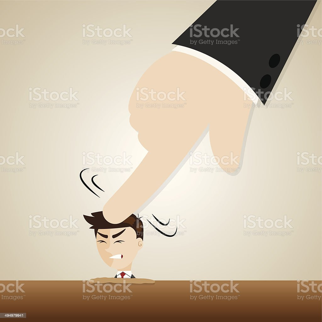 cartoon businessman crushed head by boss hand vector art illustration