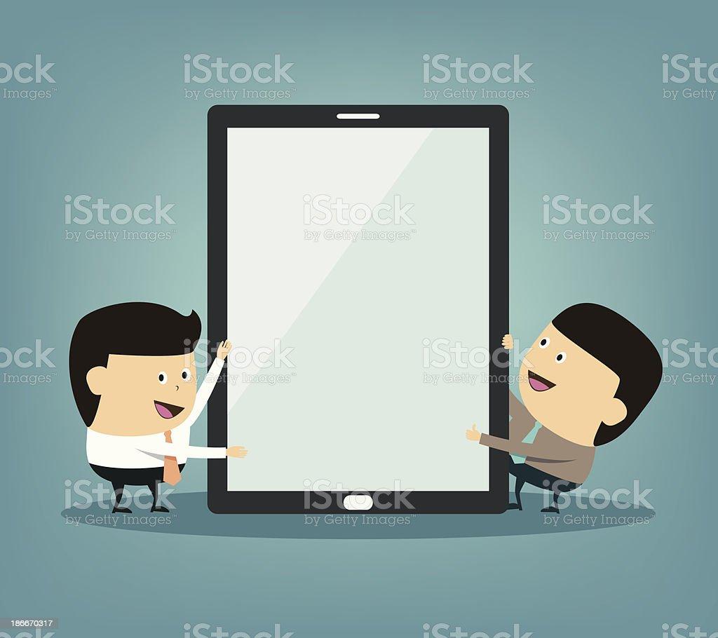 Cartoon businessman doing presentation on the tablet screen vector art illustration