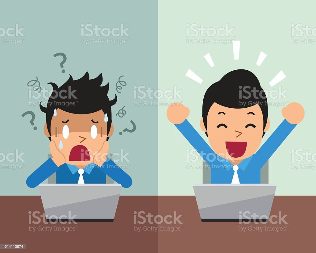 Cartoon businessman expressing different emotions vector art illustration