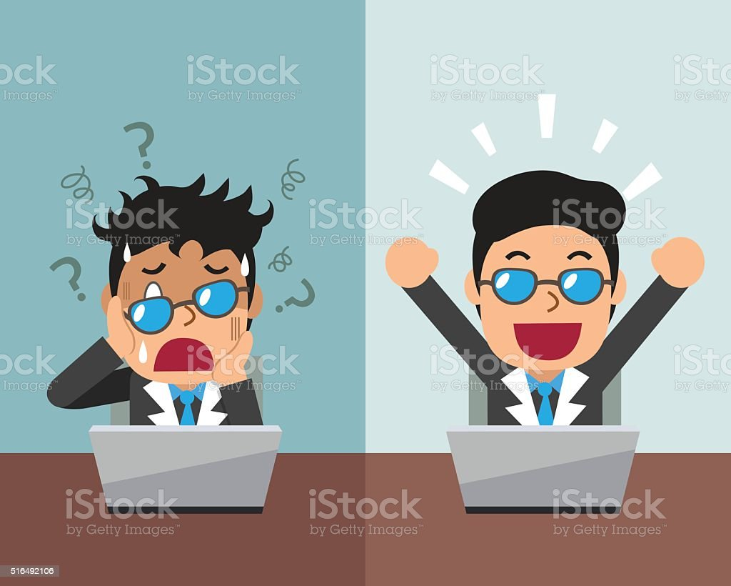 Cartoon businessman expressing different emotions vector art illustration