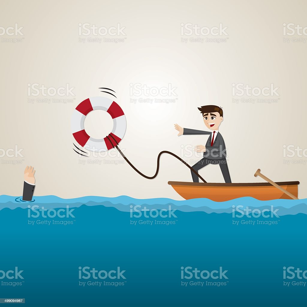 cartoon businessman helping teammate with lifebuoy vector art illustration