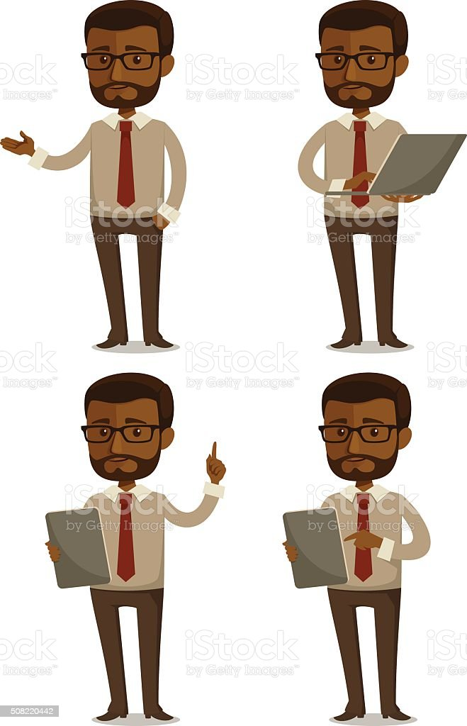 cartoon businessman in various poses vector art illustration