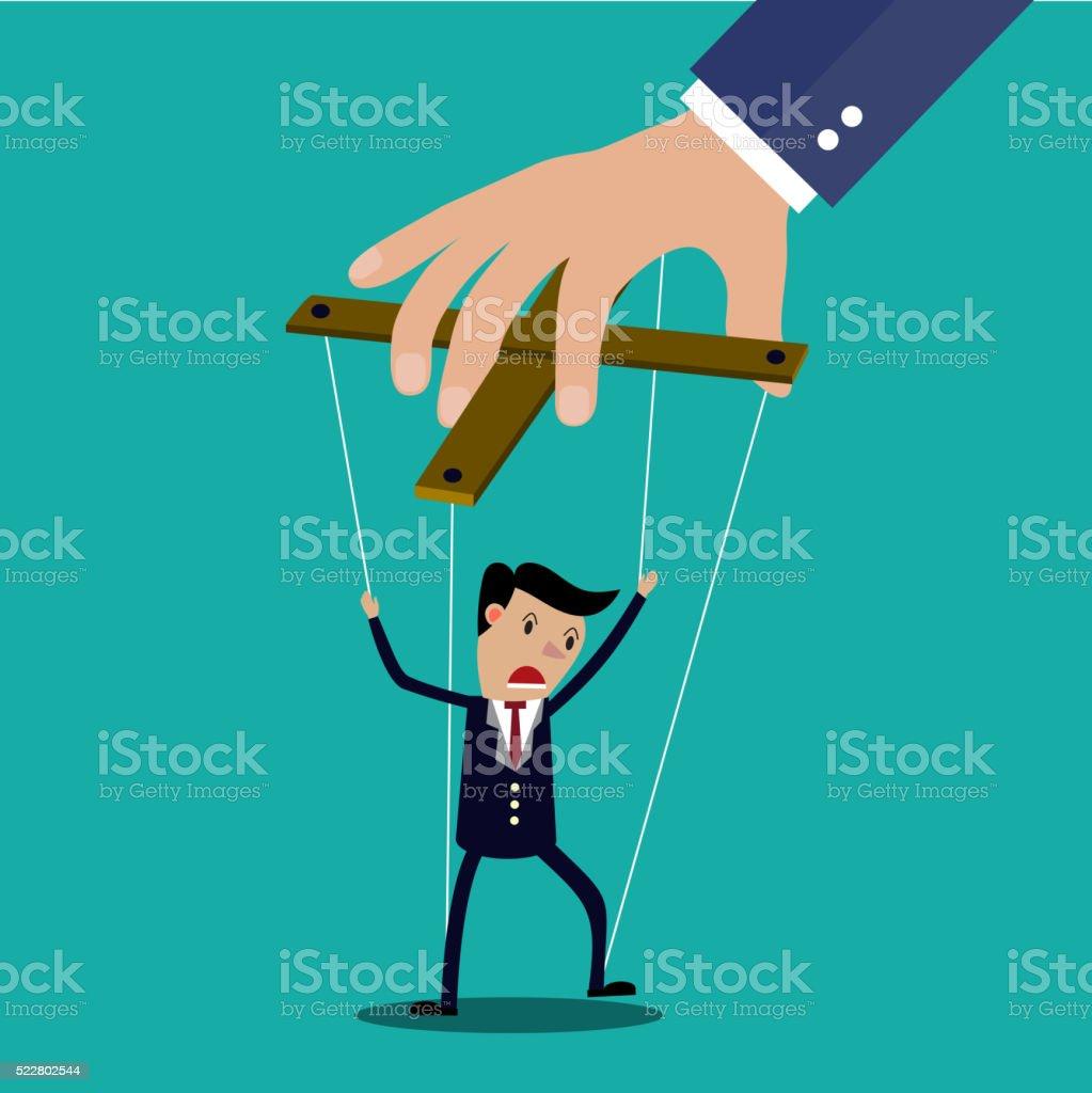 Cartoon Businessman marionette vector art illustration
