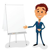 Cartoon businessman pointing to the text space flip chart board