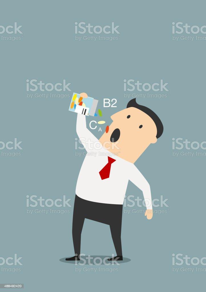 Cartoon businessman taking vitamins pills vector art illustration