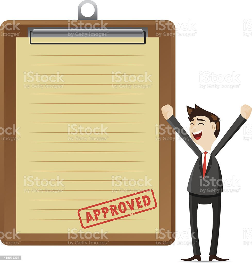 cartoon businessman with approved document royalty-free stock vector art